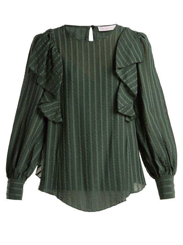 Ruffled cotton-blend blouse