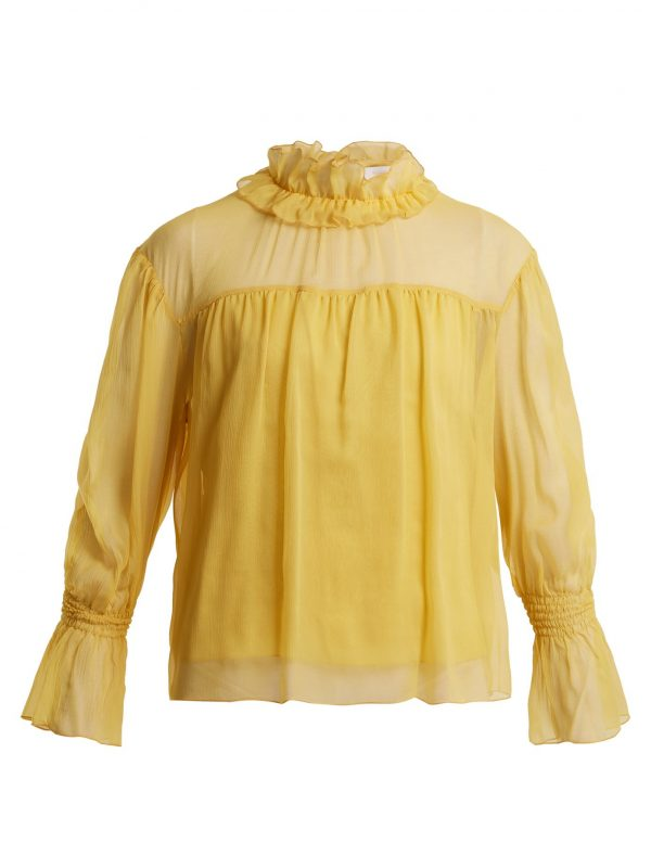 Ruffled-neck silk blouse