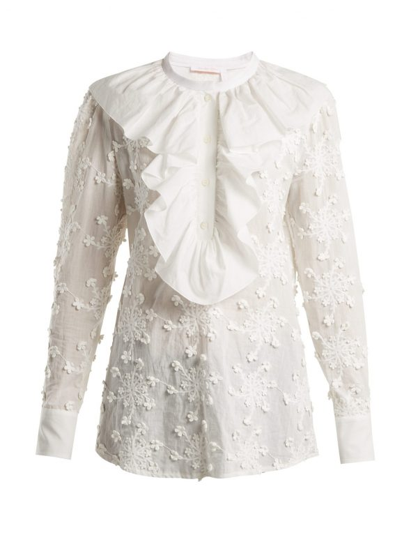 Ruffled-trim embroidered cotton blouse