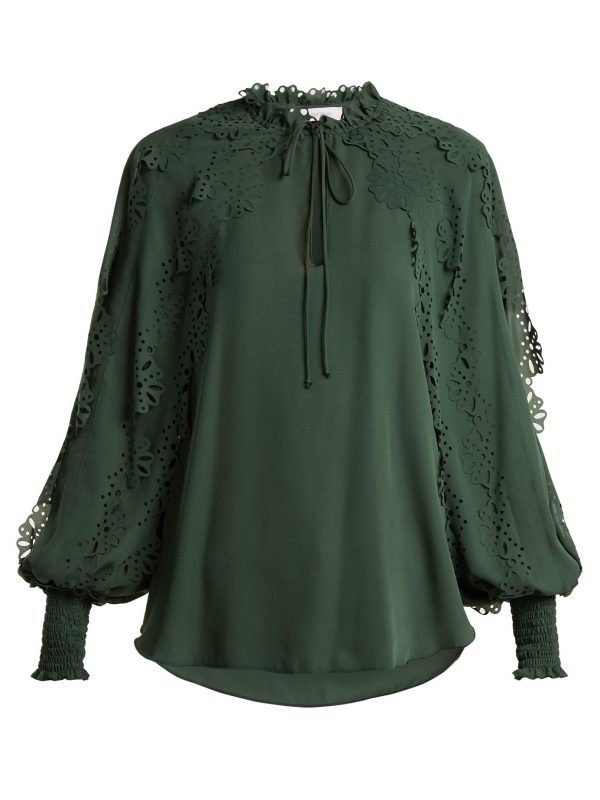 Ruffled-trim georgette blouse