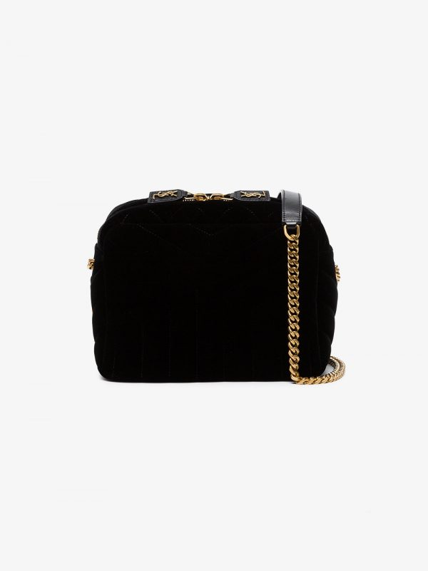 Saint Laurent Black Lou Lou Velvet Cross Body Bag