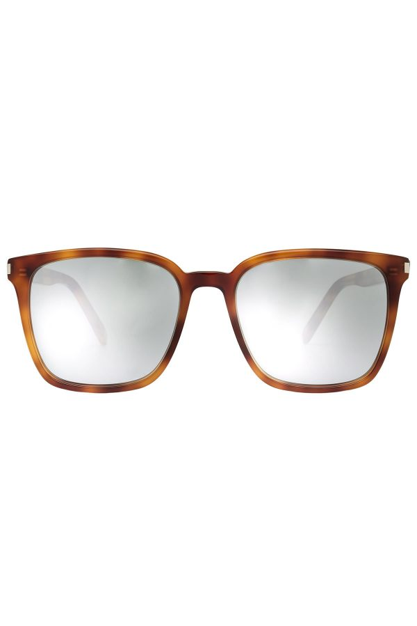 Saint Laurent Square Tortoiseshell Print Sunglasses