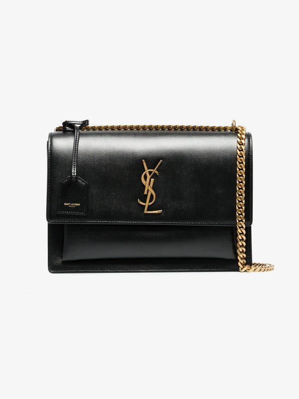 Saint Laurent black sunset medium leather bag