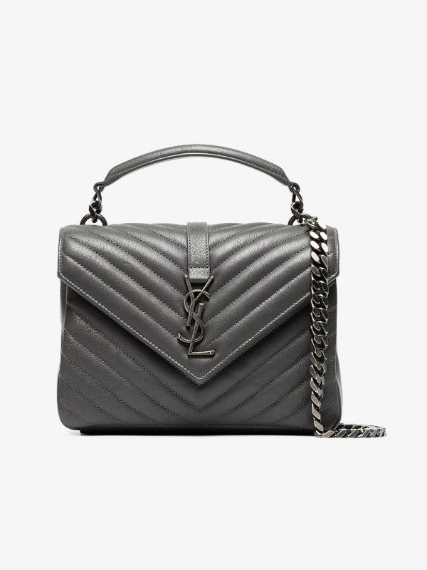 Saint Laurent grey collège monogram leather bag