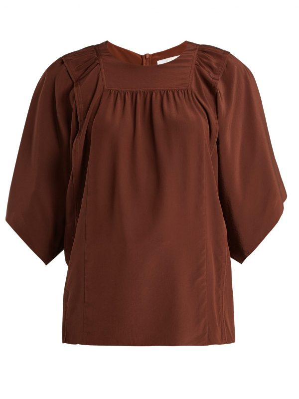 Square-bib silk crepe de Chine blouse