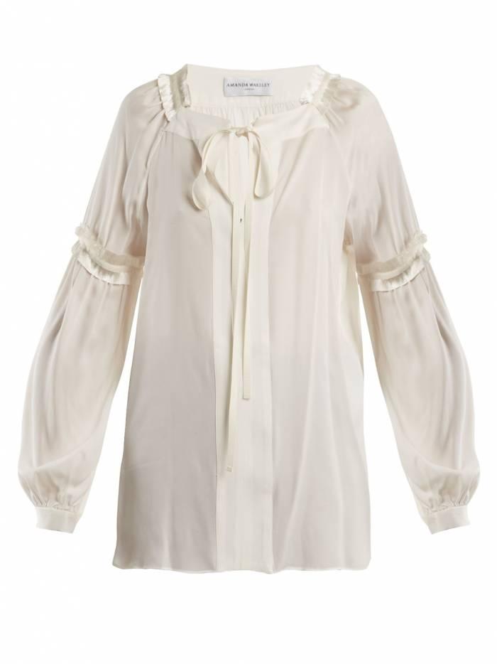 Square-neck contrast panel silk-satin blouse