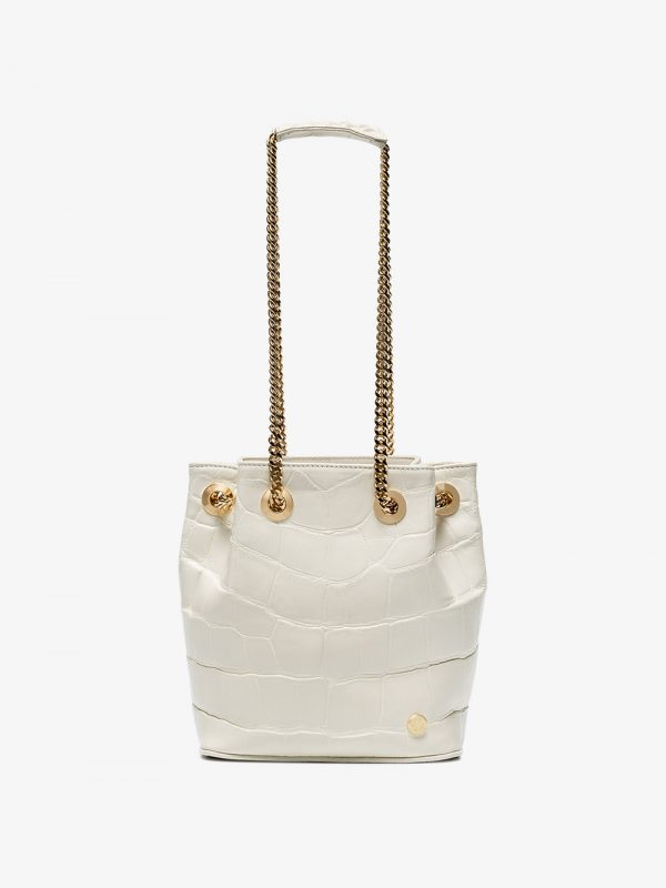 Stalvey White jessica Mini alligator bucket bag