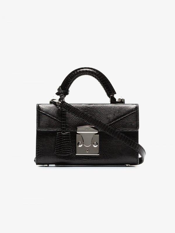 Stalvey black Top Handle Mini lizard bag
