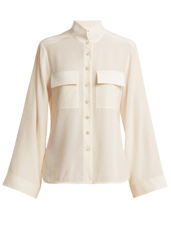 Stand-collar silk crepe de Chine shirt