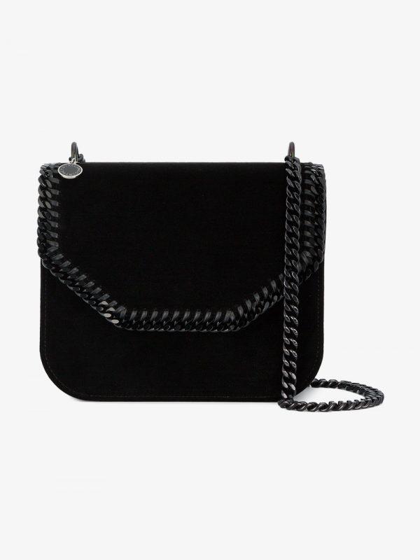 Stella McCartney black velvet falabella shoulder bag