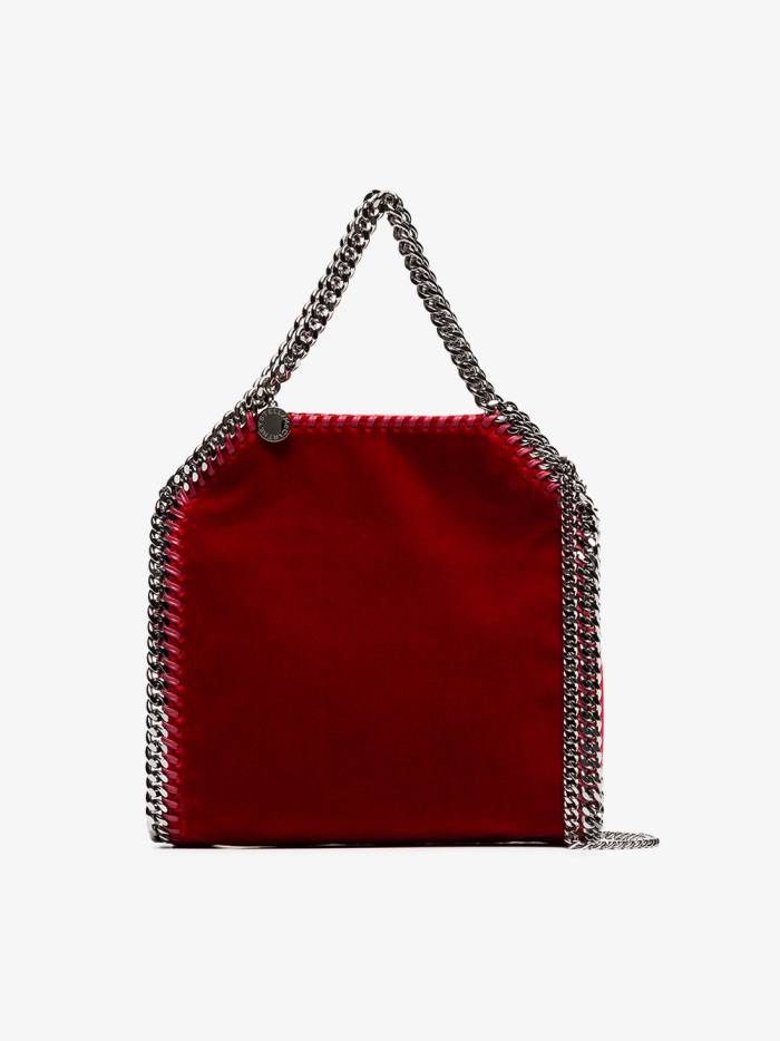 Stella McCartney red falabella mini velvet shoulder bag