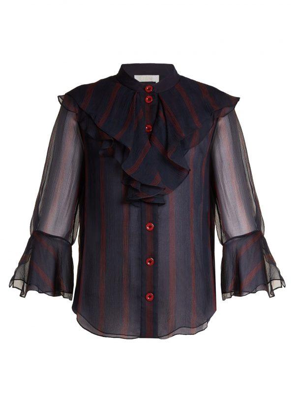 Striped ruffle-trimmed silk-chiffon blouse