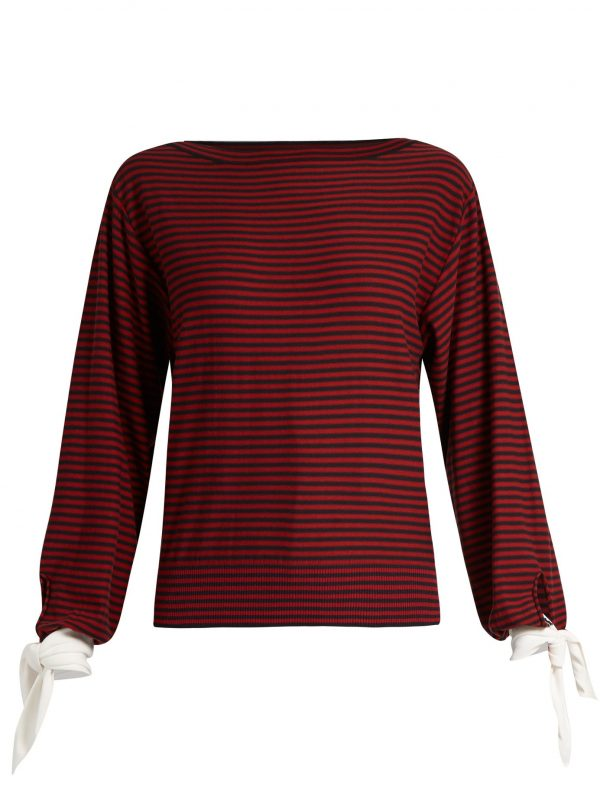 Tie-cuff striped cotton top
