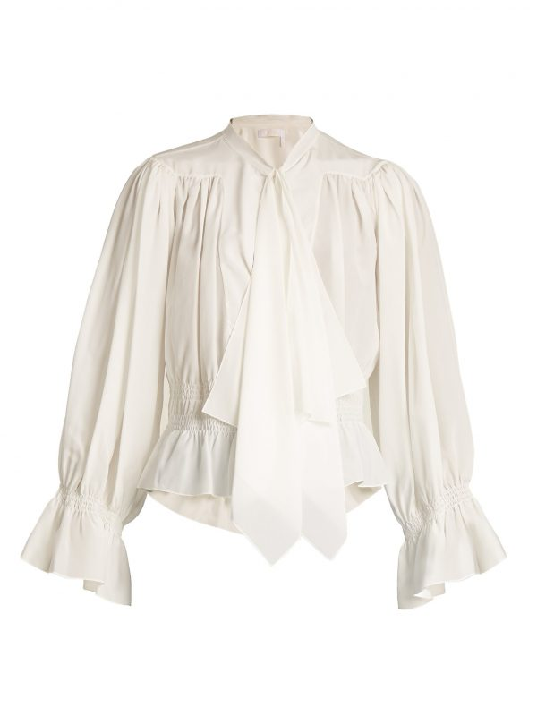 Tie-neck gathered silk crepe de Chine blouse