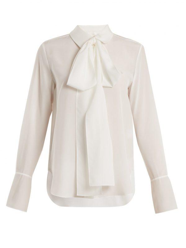 Tie-neck silk-crepe shirt