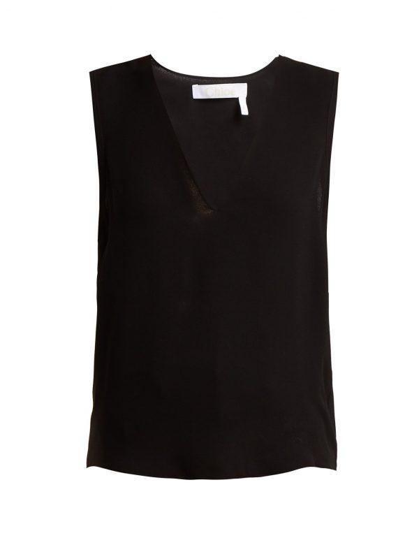 V-neck crepe tank top