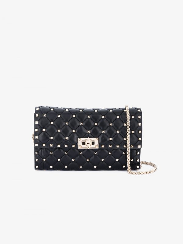 Valentino Black Rockstud Spike Cross Body bag