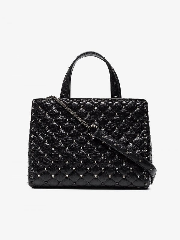 Valentino Black Rockstud Spike medium leather shoulder bag