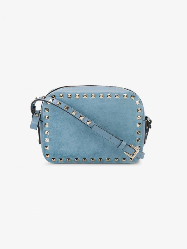 Valentino Blue rockstud mini suede bag