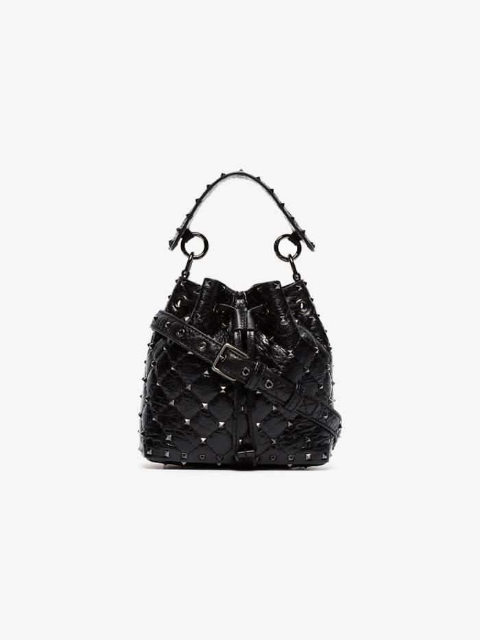 Valentino black Rockstud small studded leather bucket bag