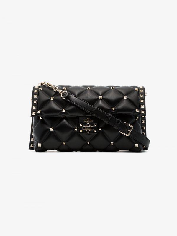 Valentino black medium Candy studded leather shoulder bag