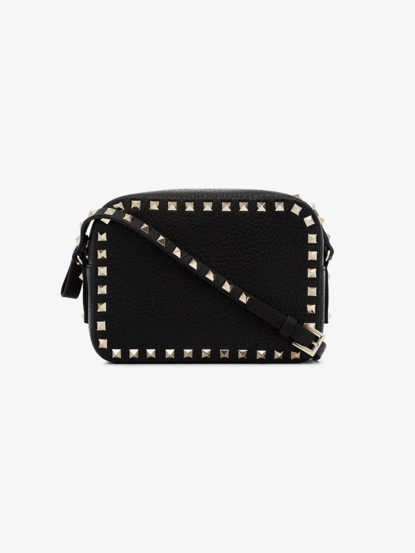 Valentino black rockstud leather crossbody bag