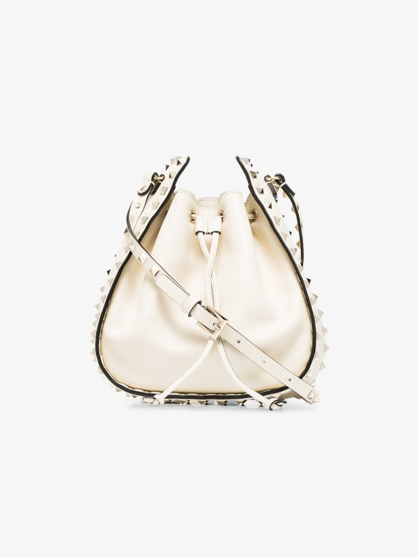 Valentino nude rockstud small leather bucket bag