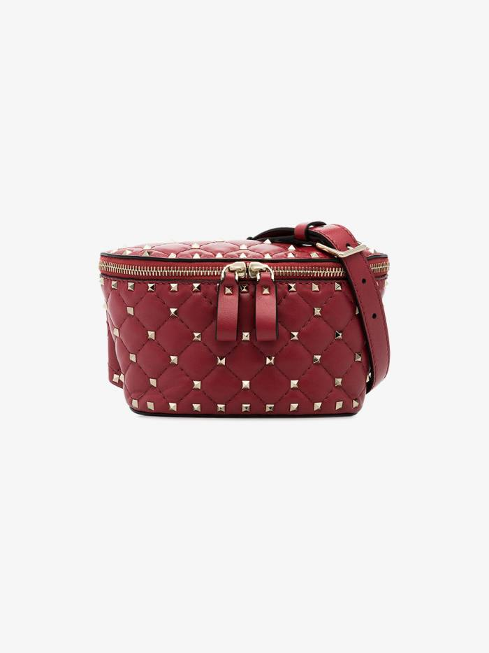 Valentino red Rockstud small spike leather belt bag