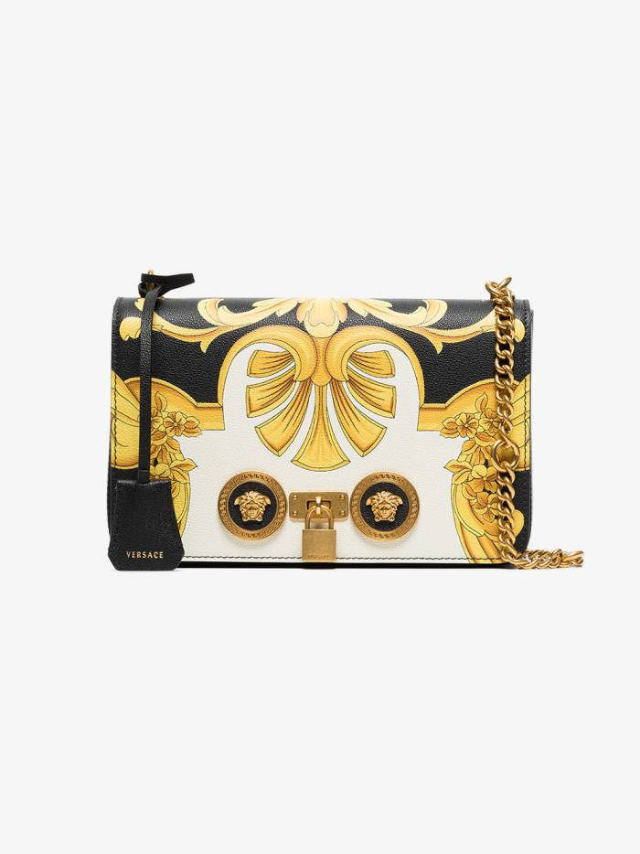 Versace black and gold Barocco SS92 print leather chain strap shoulder bag