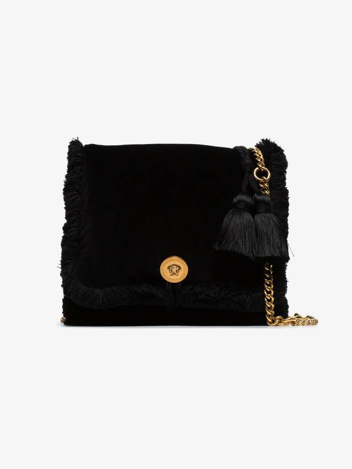 Versace black pillow talk small velvet shoulder bag