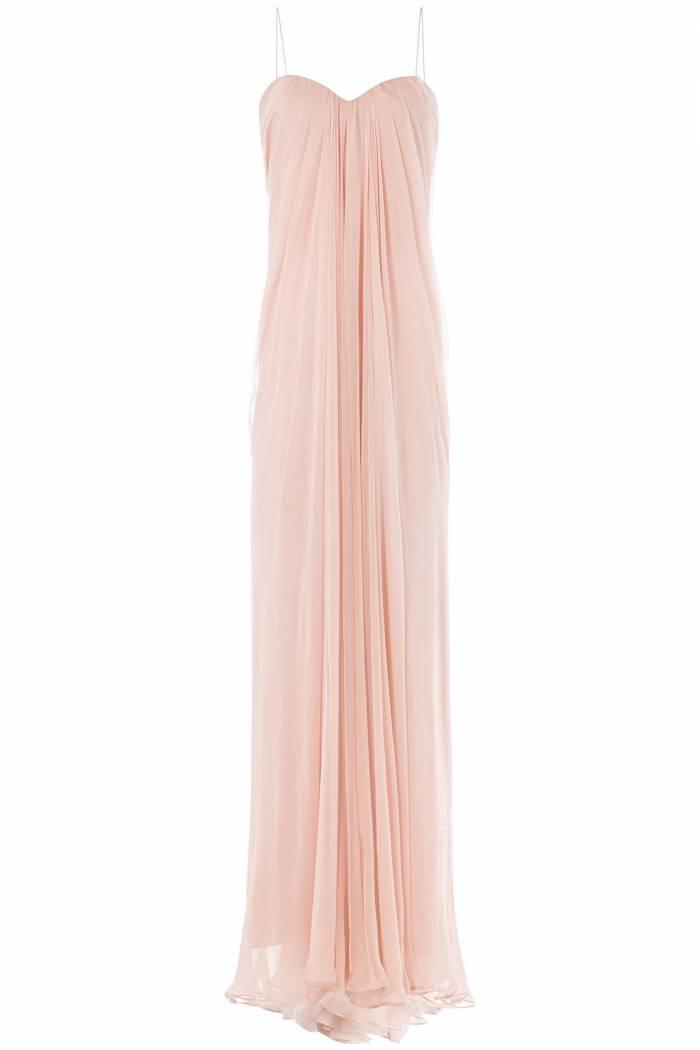 Alexander McQueen Draped Floor Length Silk Dress