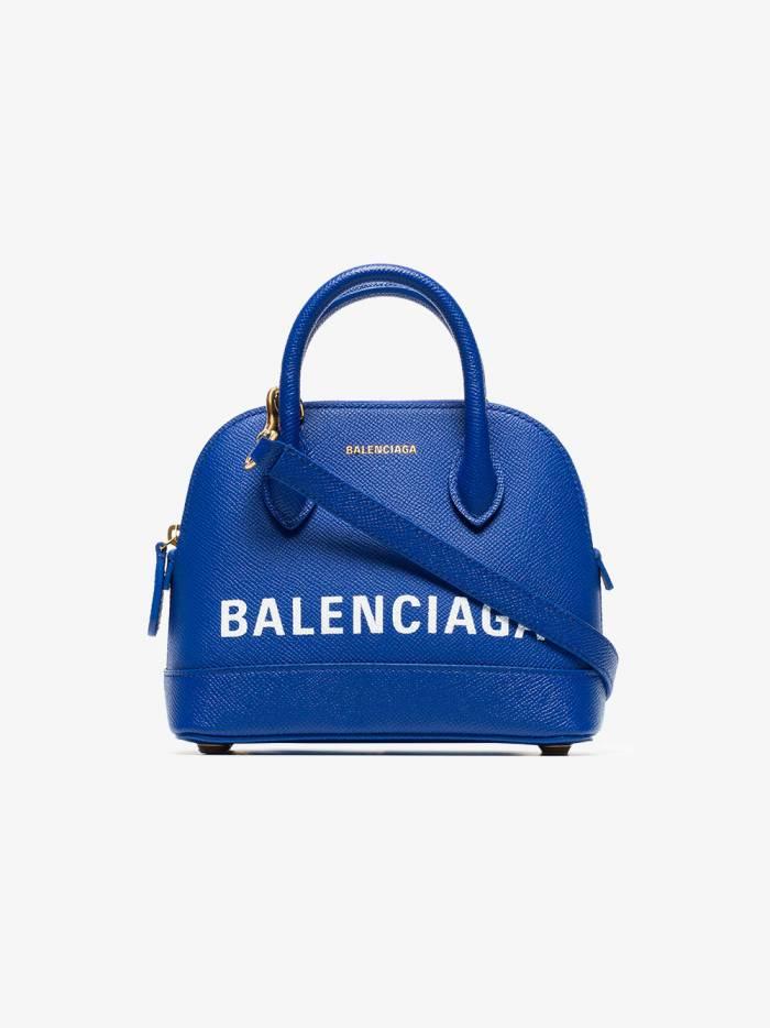 Balenciaga blue and white ville XXS leather top handle bag