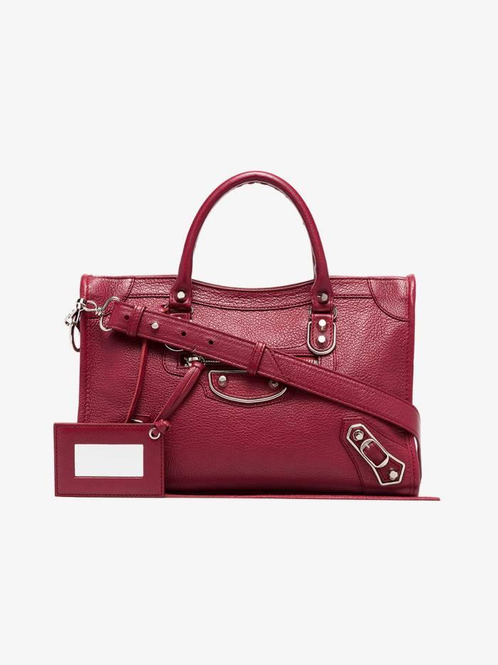 Balenciaga red City metallic edge small leather bag