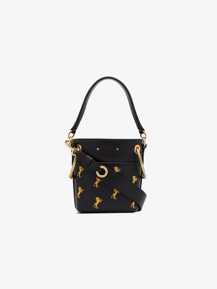 Chloé navy blue and yellow roy horse embroidered mini leather bag