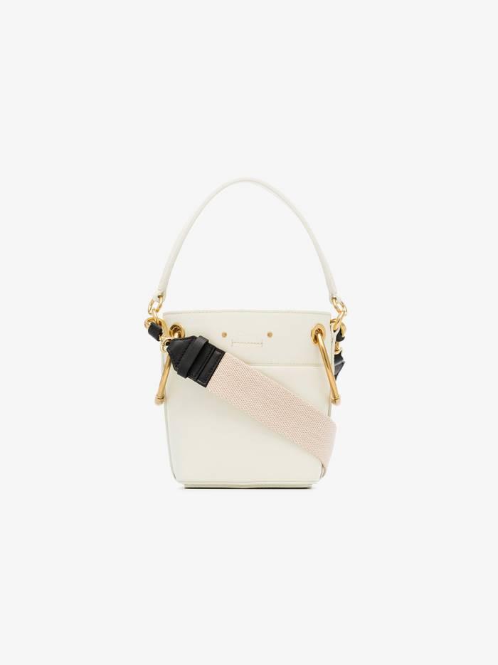 Chloé white roy mini leather bucket bag