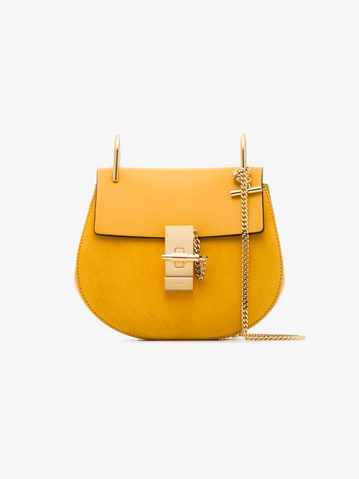 Chloé yellow drew suede leather shoulder bag