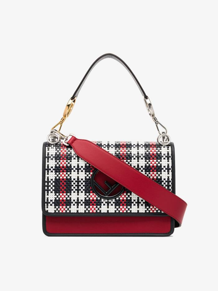 Fendi red, black and white kan I F woven leather shoulder bag