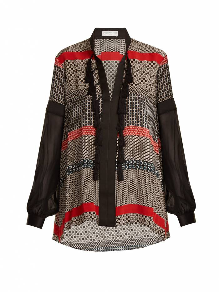 Geometric-print silk crepe de Chine blouse