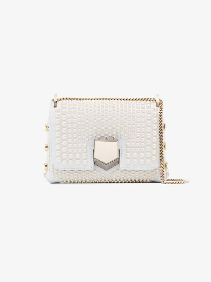 Jimmy Choo white lockett pearl studded mini bag