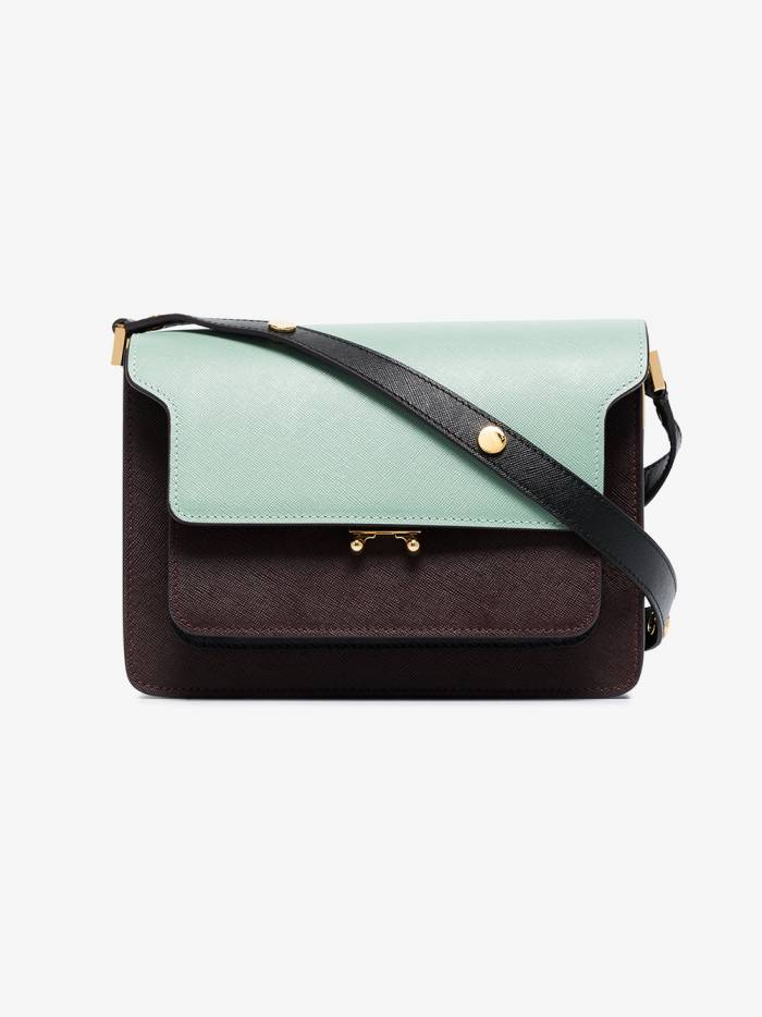 Marni green and burgundy Trunk leather shoulder bag