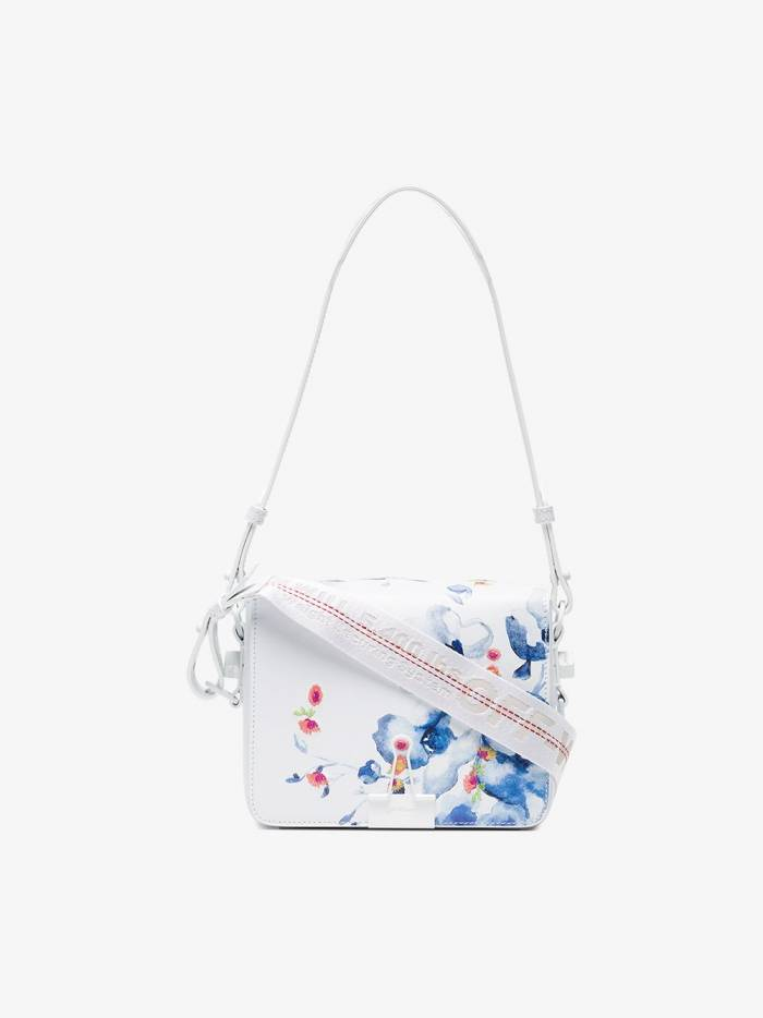 Off-White x Browns White, Blue And Red Floral Print Leather Shoulder Bag