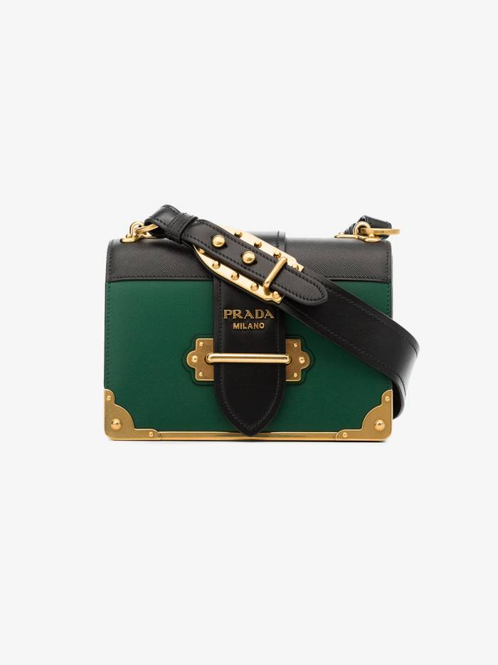 Prada green and black Cahier cross body leather bag