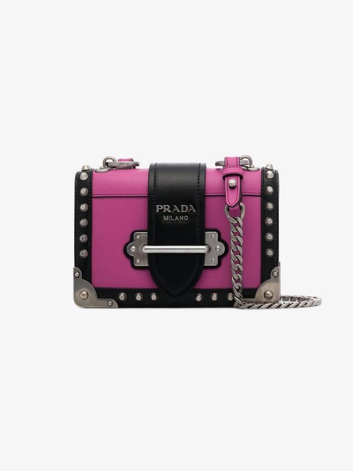 Prada pink and black cahier leather shoulder bag