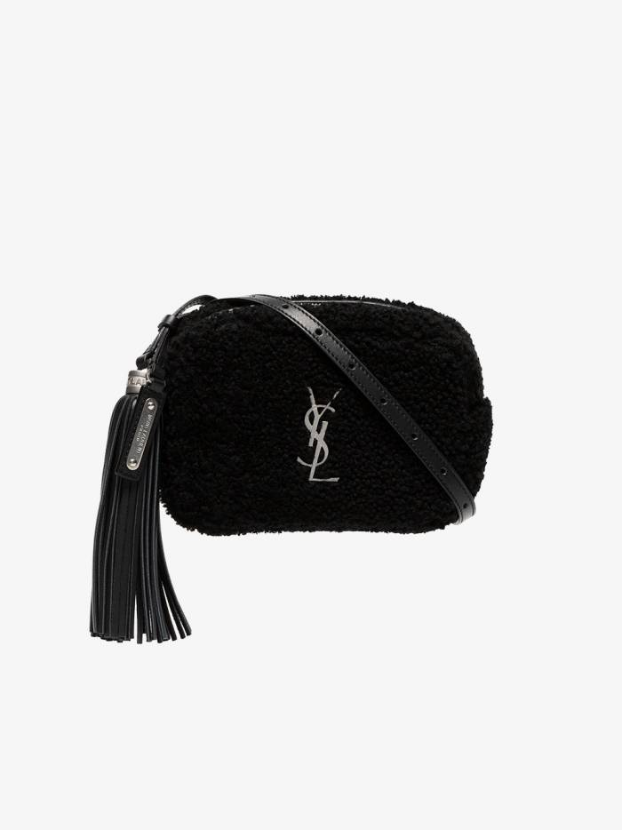 Saint Laurent black blogger logo shearling bag