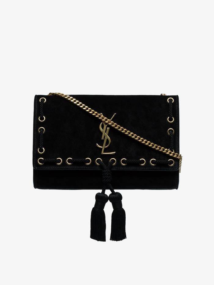 Saint Laurent black kate medium suede leather shoulder bag