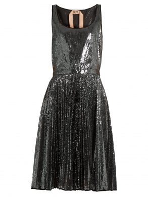 Sequin-embellished pleated dress