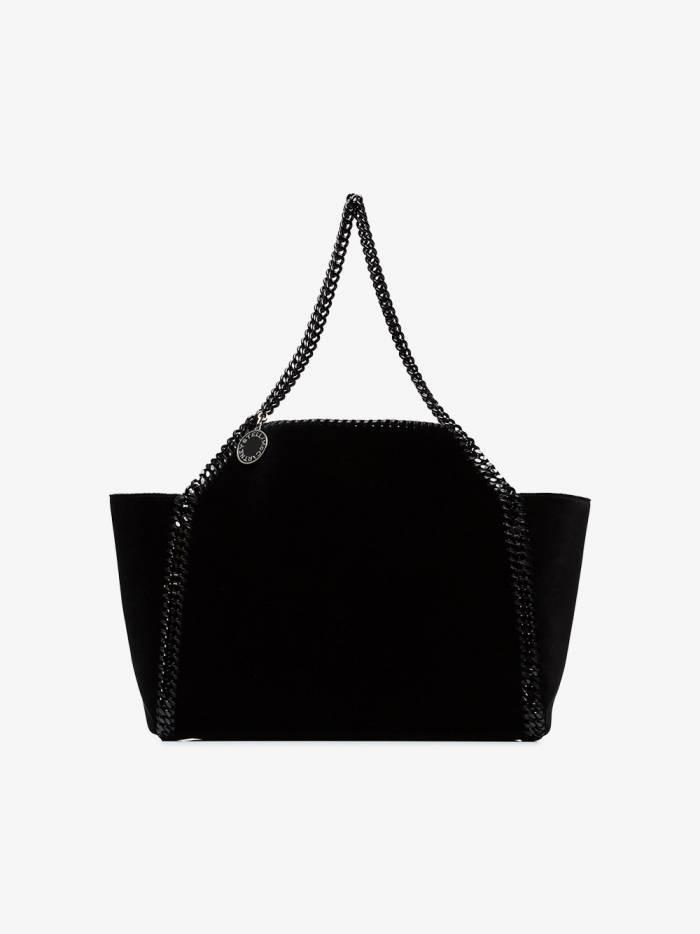 Stella McCartney black falabella reversible velvet shoulder bag