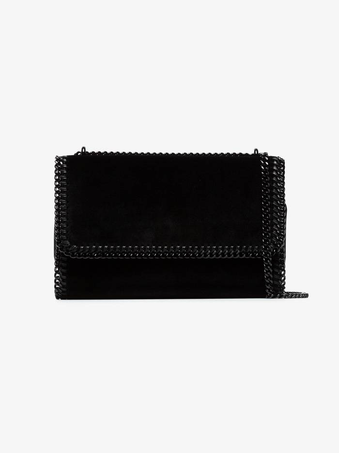 Stella McCartney black falabella small velvet shoulder bag