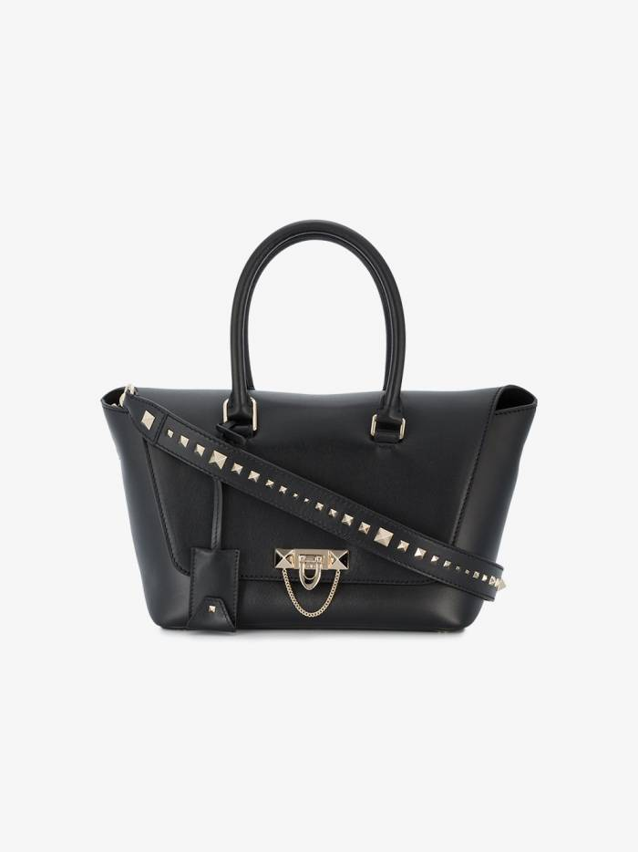 Valentino Black Leather Demilune tote bag