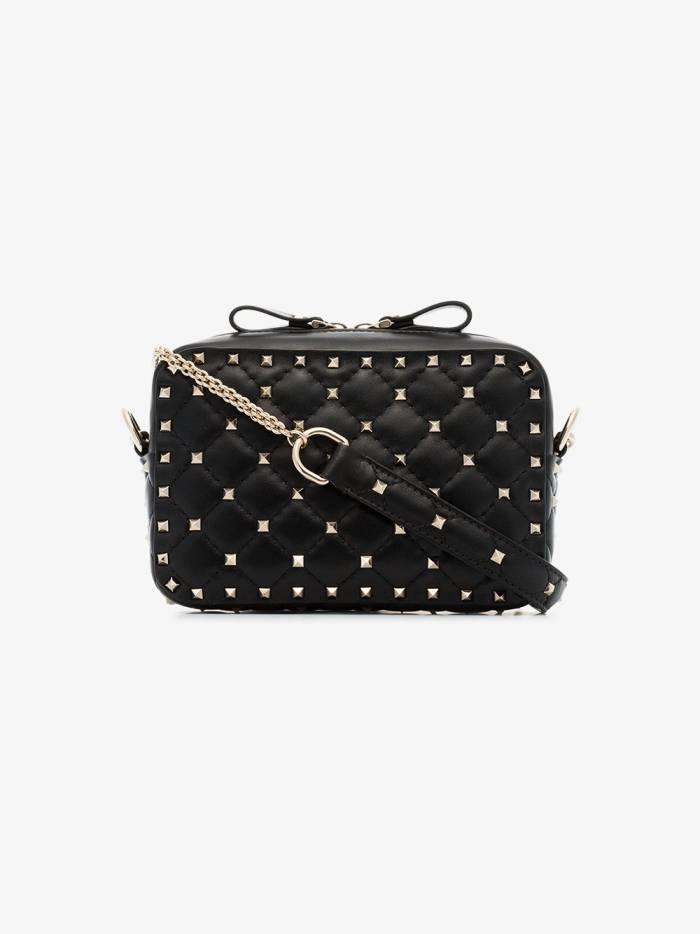 Valentino black rockstud quilted leather shoulder bag